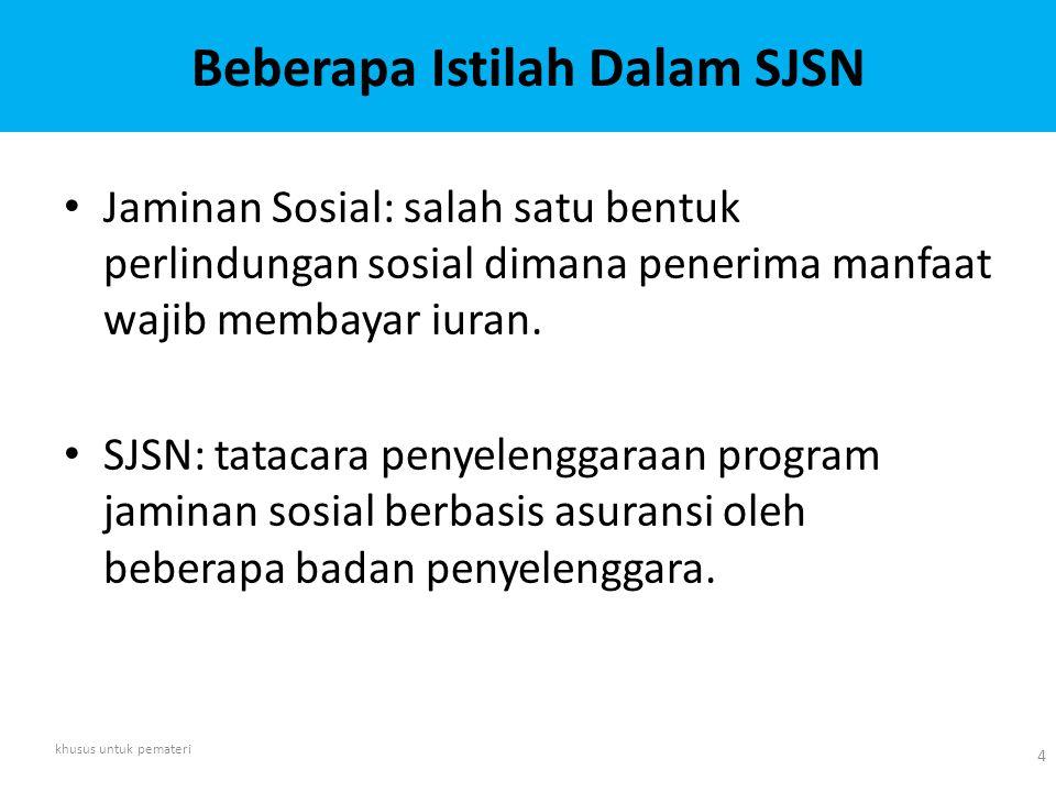 Beberapa Istilah Dalam SJSN