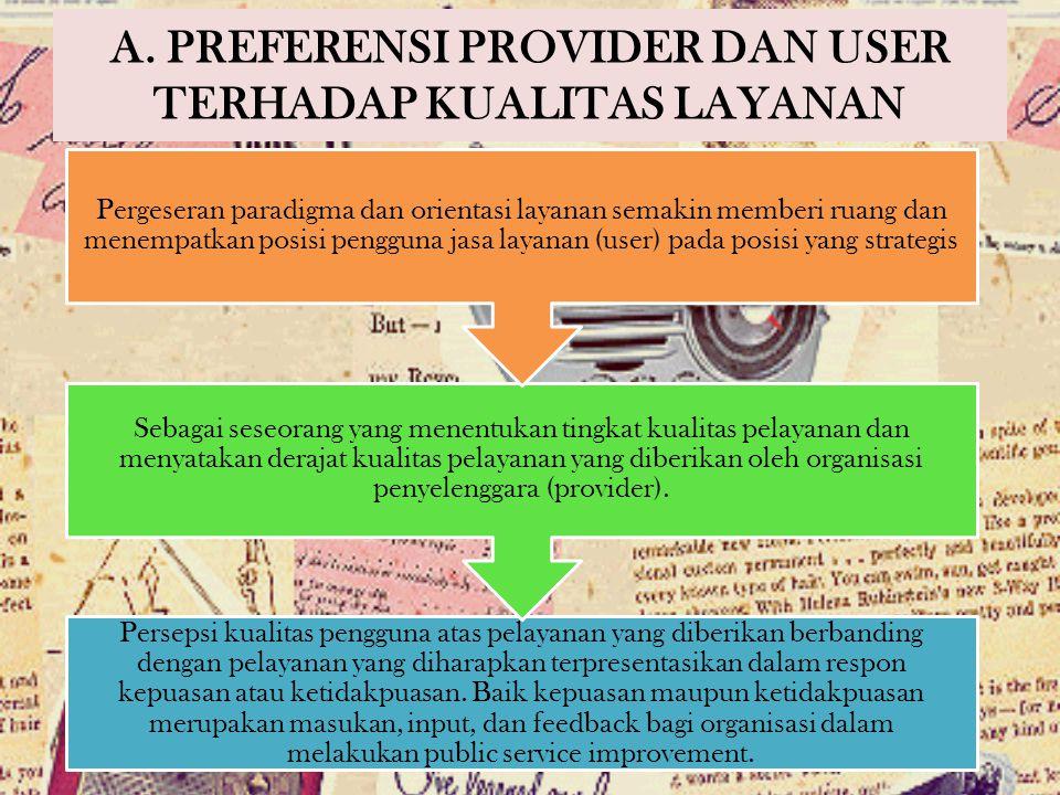 A. PREFERENSI PROVIDER DAN USER TERHADAP KUALITAS LAYANAN