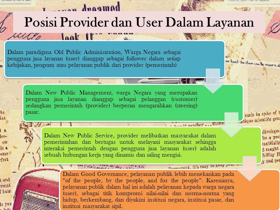 Posisi Provider dan User Dalam Layanan