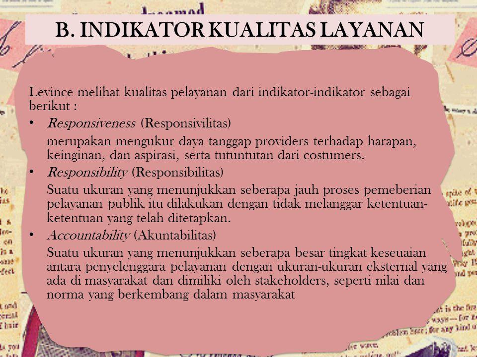 B. INDIKATOR KUALITAS LAYANAN