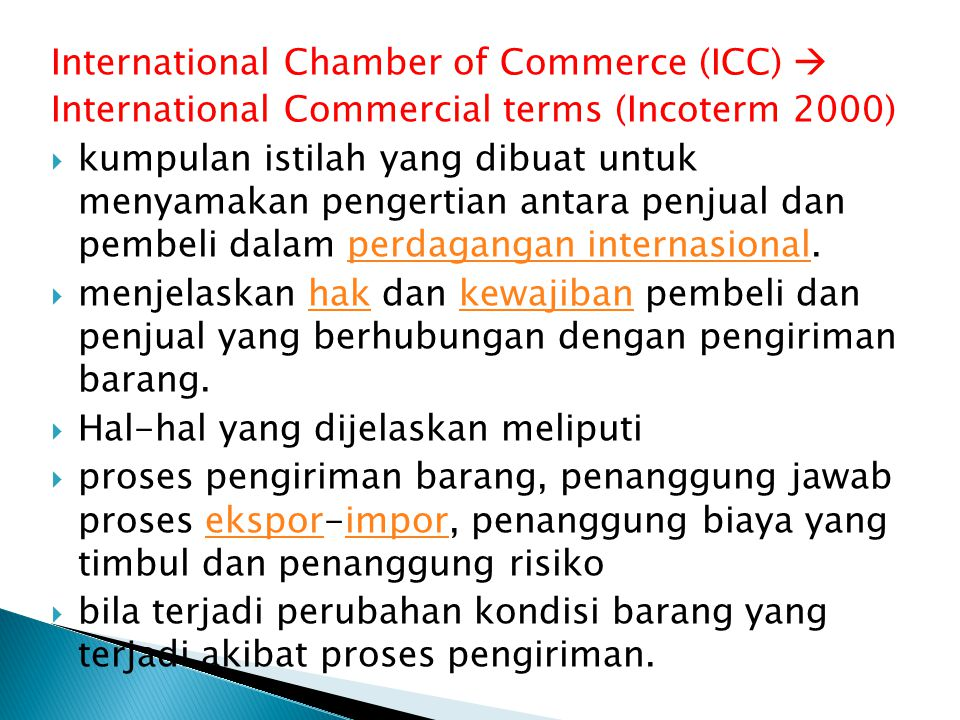 International Chamber of Commerce (ICC) 