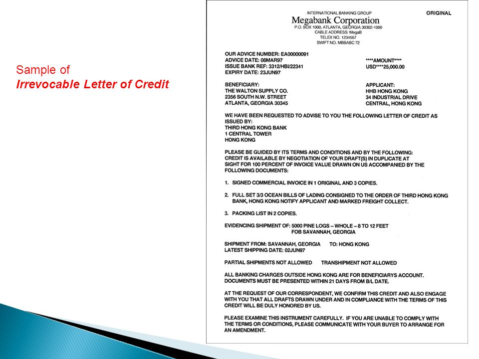 Sample of Irrevocable Letter of Credit