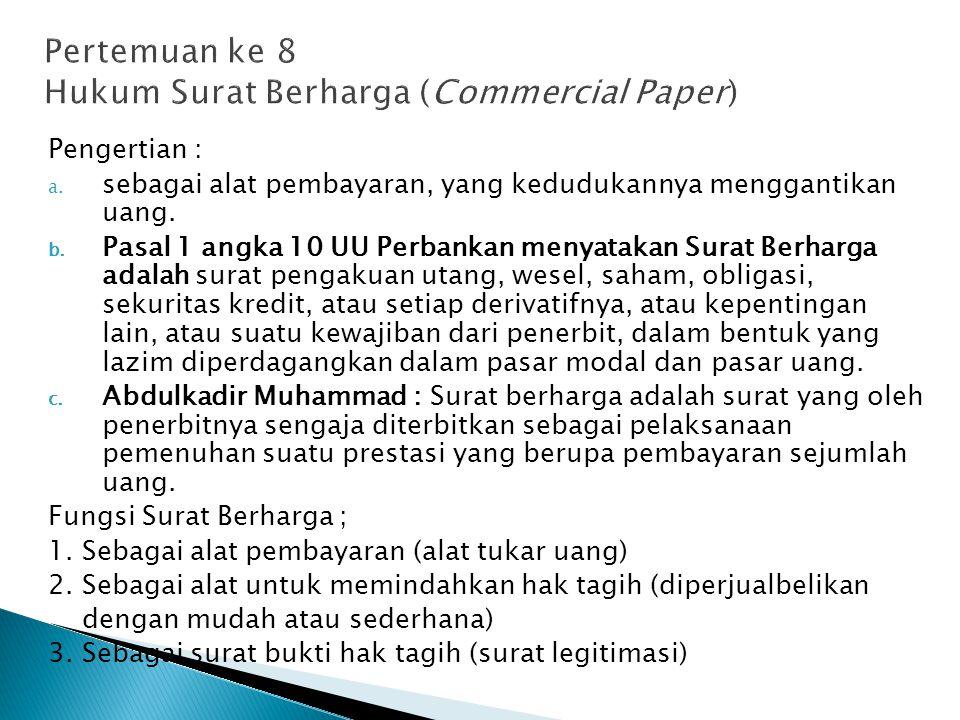 Pertemuan ke 8 Hukum Surat Berharga (Commercial Paper)