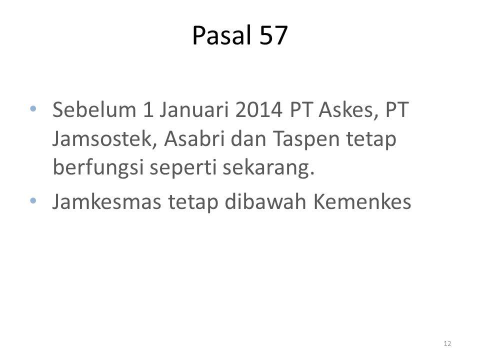 Pasal 57 Sebelum 1 Januari 2014 PT Askes, PT Jamsostek, Asabri dan Taspen tetap berfungsi seperti sekarang.