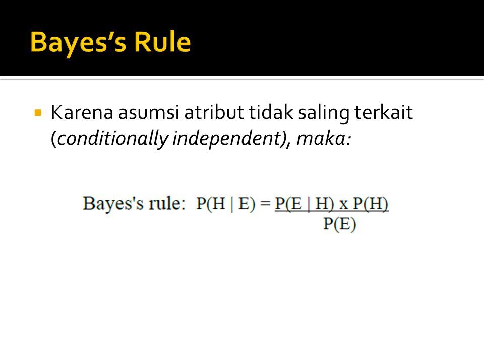Bayes's Rule Karena asumsi atribut tidak saling terkait (conditionally independent), maka: