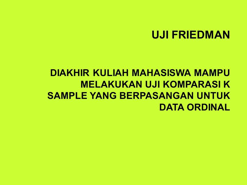UJI FRIEDMAN DIAKHIR KULIAH MAHASISWA MAMPU MELAKUKAN UJI KOMPARASI K SAMPLE YANG BERPASANGAN UNTUK DATA ORDINAL.