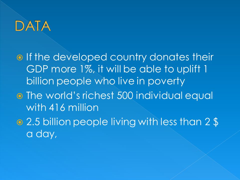 DATA If the developed country donates their GDP more 1%, it will be able to uplift 1 billion people who live in poverty.
