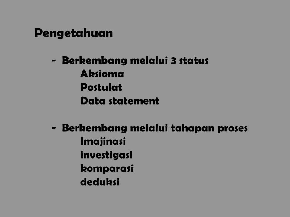 Pengetahuan Berkembang melalui 3 status Aksioma Postulat