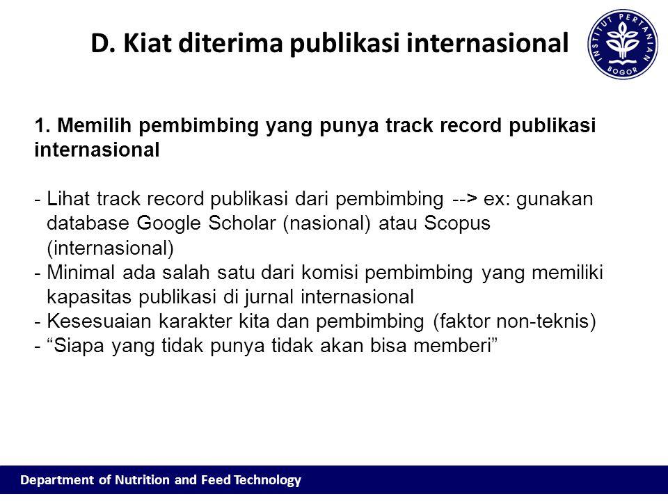 D. Kiat diterima publikasi internasional