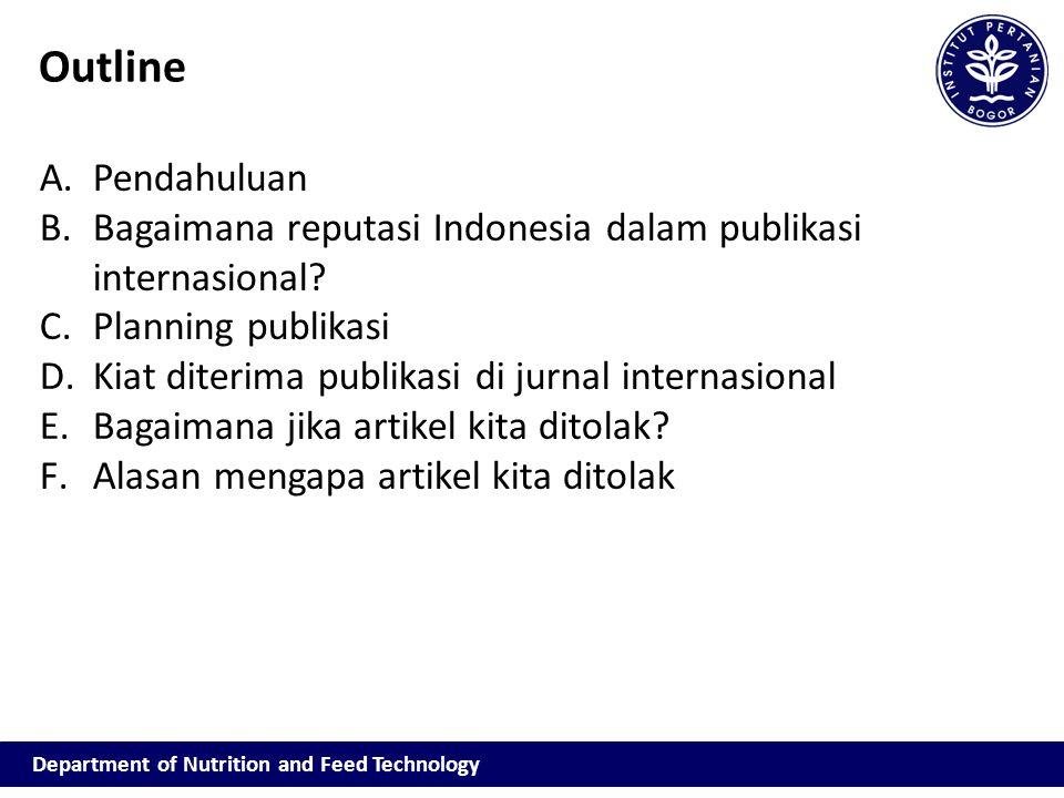 Outline Pendahuluan. Bagaimana reputasi Indonesia dalam publikasi internasional Planning publikasi.