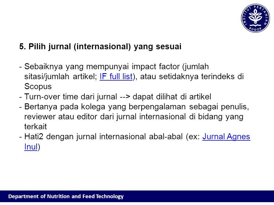 5. Pilih jurnal (internasional) yang sesuai