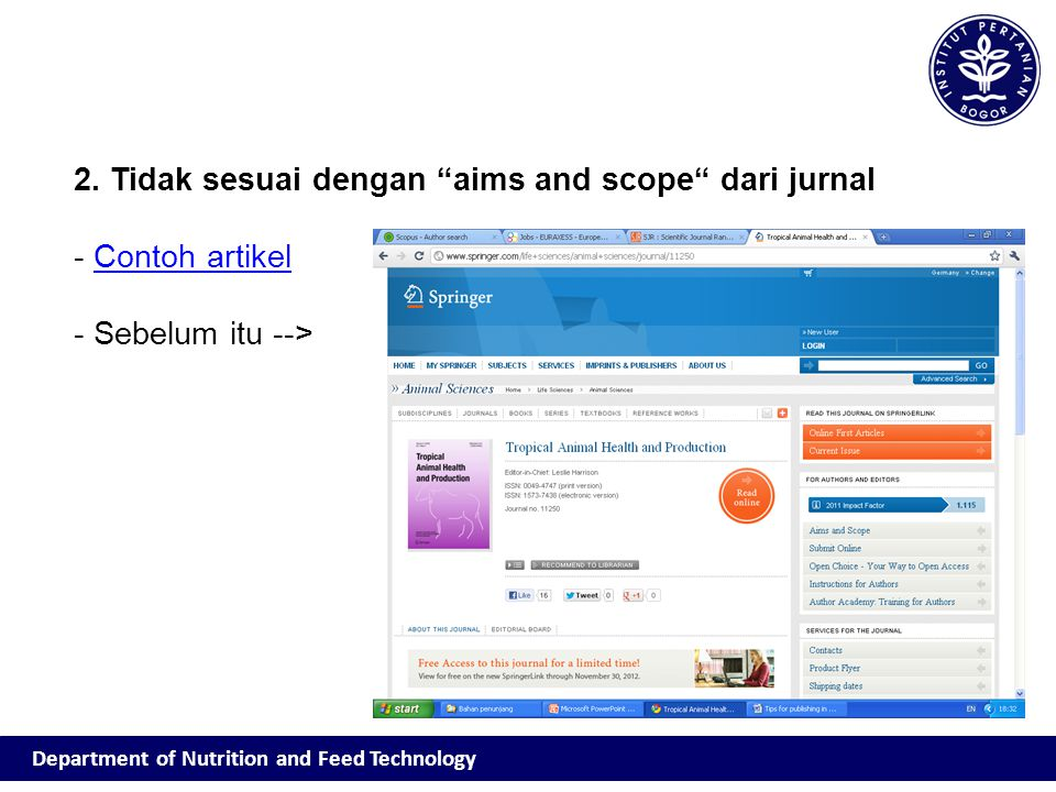 2. Tidak sesuai dengan aims and scope dari jurnal Contoh artikel