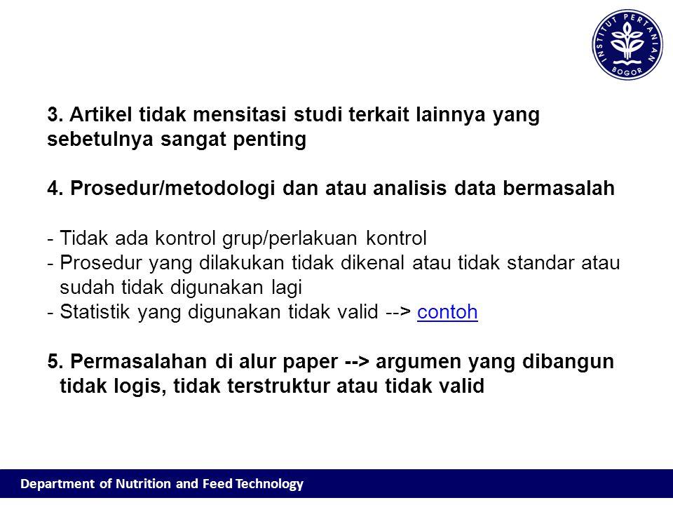 4. Prosedur/metodologi dan atau analisis data bermasalah