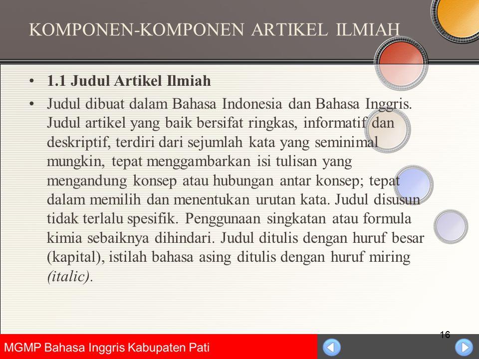 KOMPONEN-KOMPONEN ARTIKEL ILMIAH