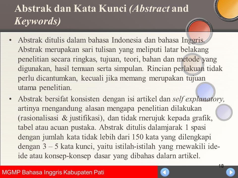Abstrak dan Kata Kunci (Abstract and Keywords)
