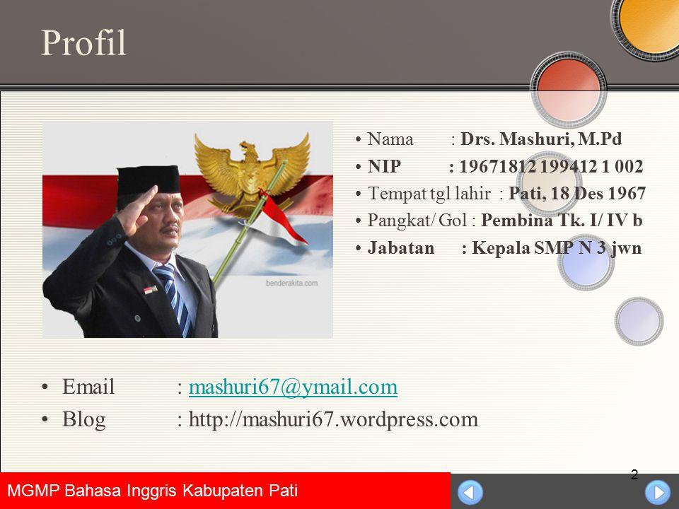 Profil Nama : Drs. Mashuri, M.Pd. NIP : 19671812 199412 1 002. Tempat tgl lahir : Pati, 18 Des 1967.