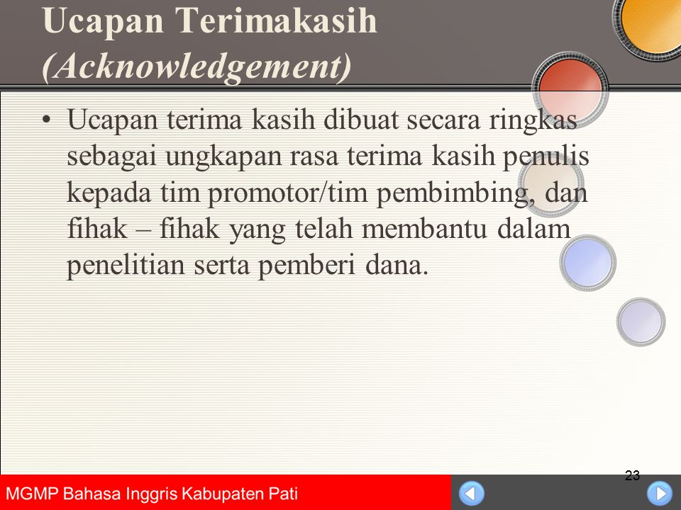 Ucapan Terimakasih (Acknowledgement)