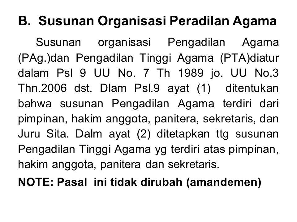 B. Susunan Organisasi Peradilan Agama