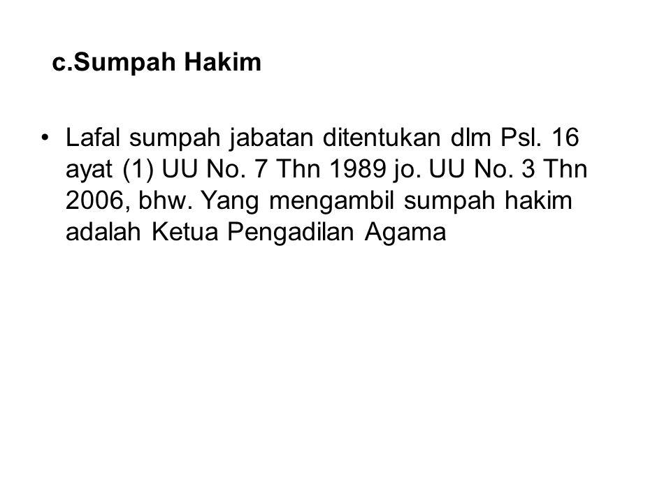 c.Sumpah Hakim