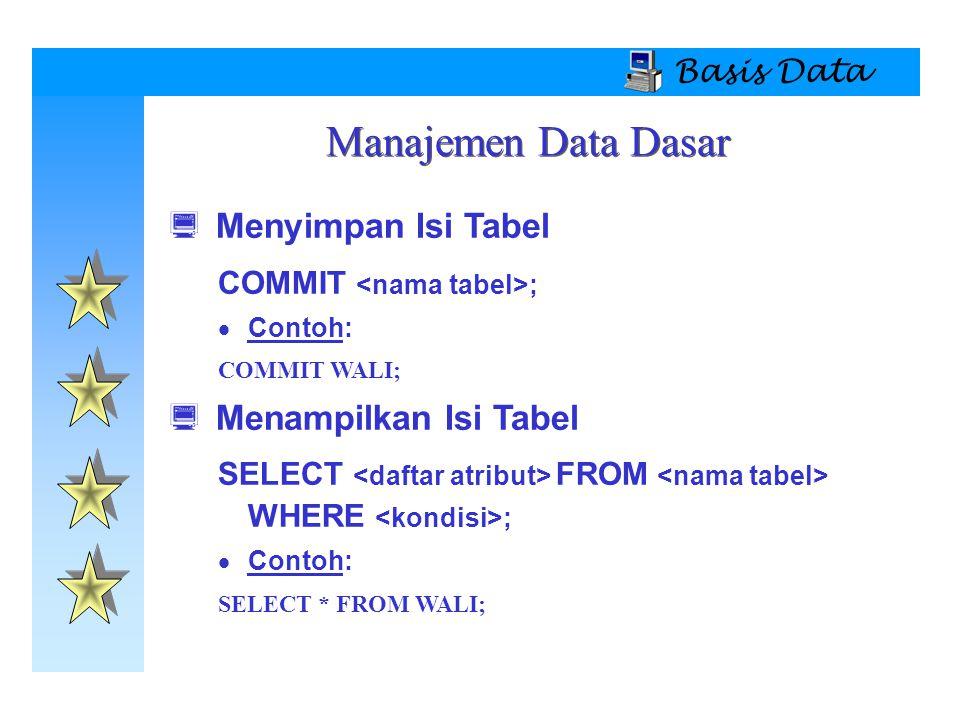 Manajemen Data Dasar Menyimpan Isi Tabel Menampilkan Isi Tabel