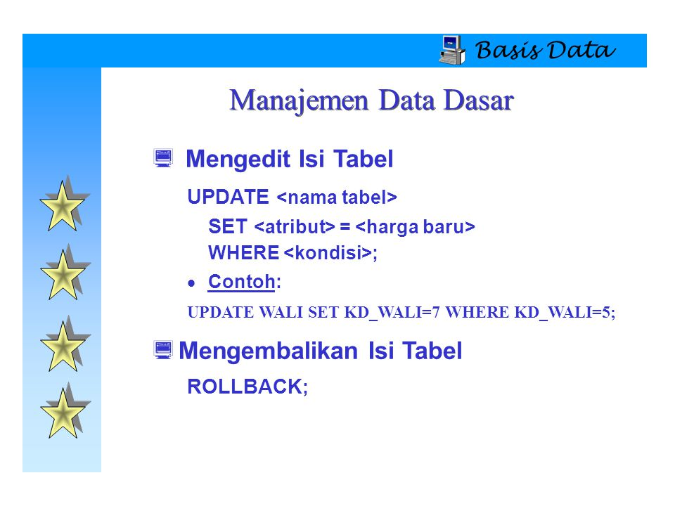 Manajemen Data Dasar Mengedit Isi Tabel Mengembalikan Isi Tabel