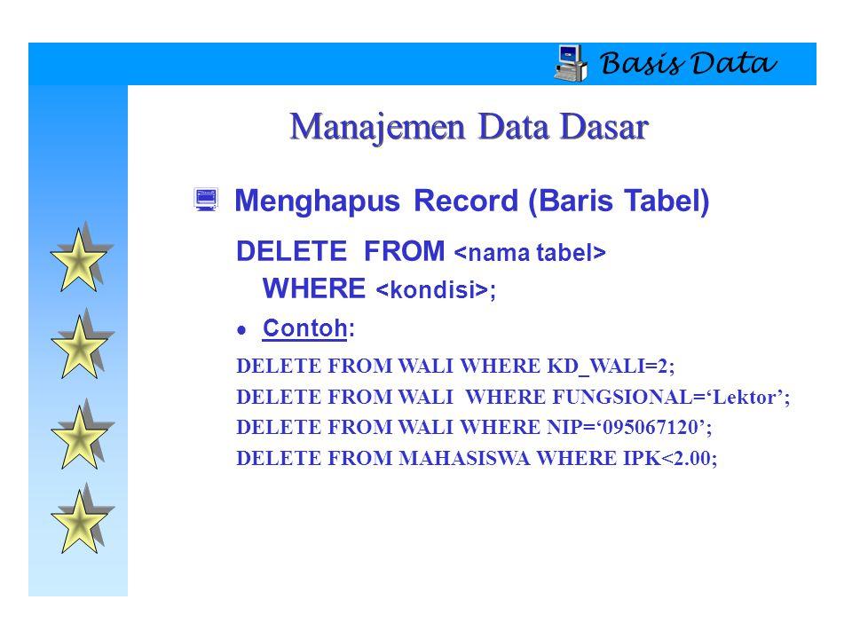 Manajemen Data Dasar Menghapus Record (Baris Tabel) Basis Data