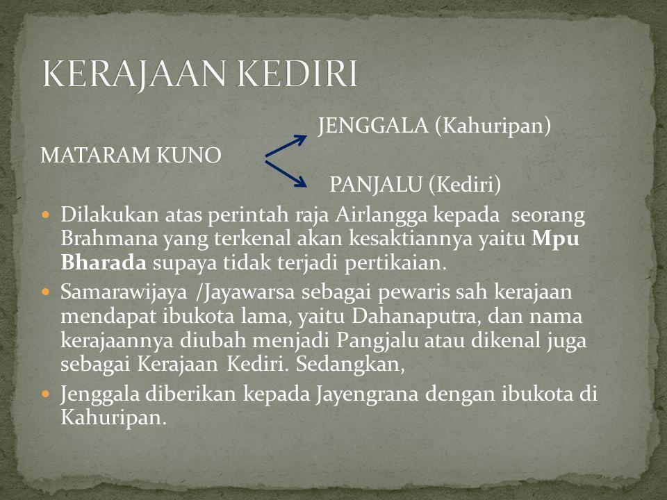 KERAJAAN KEDIRI JENGGALA (Kahuripan) MATARAM KUNO PANJALU (Kediri)
