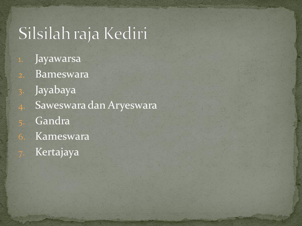 Silsilah raja Kediri Jayawarsa Bameswara Jayabaya