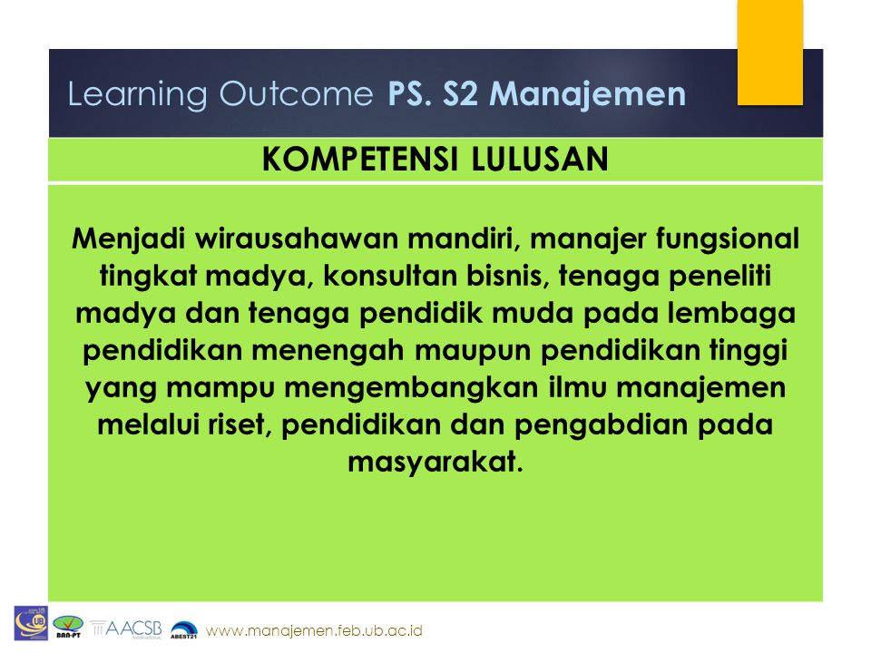 Learning Outcome PS. S2 Manajemen