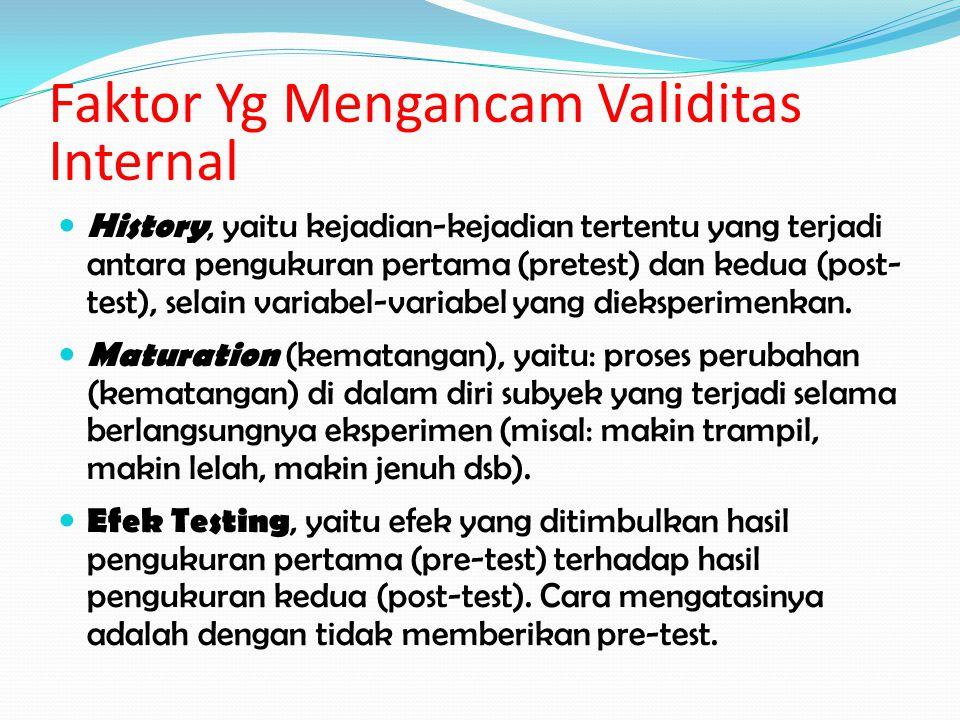 Faktor Yg Mengancam Validitas Internal