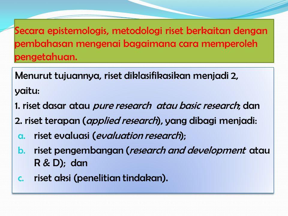 Secara epistemologis, metodologi riset berkaitan dengan pembahasan mengenai bagaimana cara memperoleh pengetahuan.