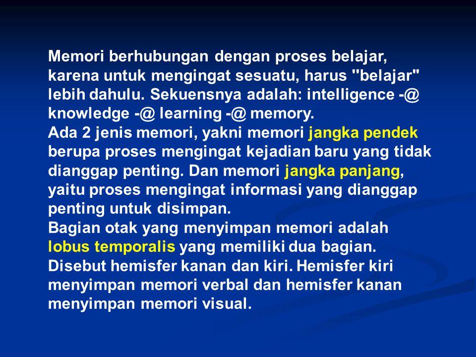 Memori berhubungan dengan proses belajar, karena untuk mengingat sesuatu, harus belajar lebih dahulu. Sekuensnya adalah: intelligence -@ knowledge -@ learning -@ memory.