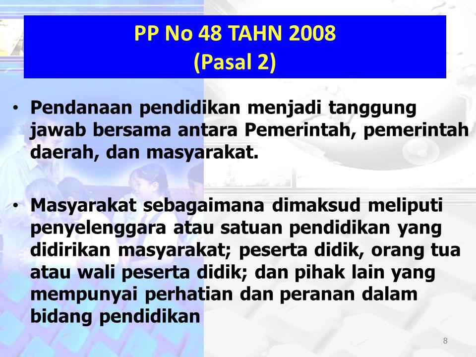 PP No 48 TAHN 2008 (Pasal 2) Pendanaan pendidikan menjadi tanggung jawab bersama antara Pemerintah, pemerintah daerah, dan masyarakat.