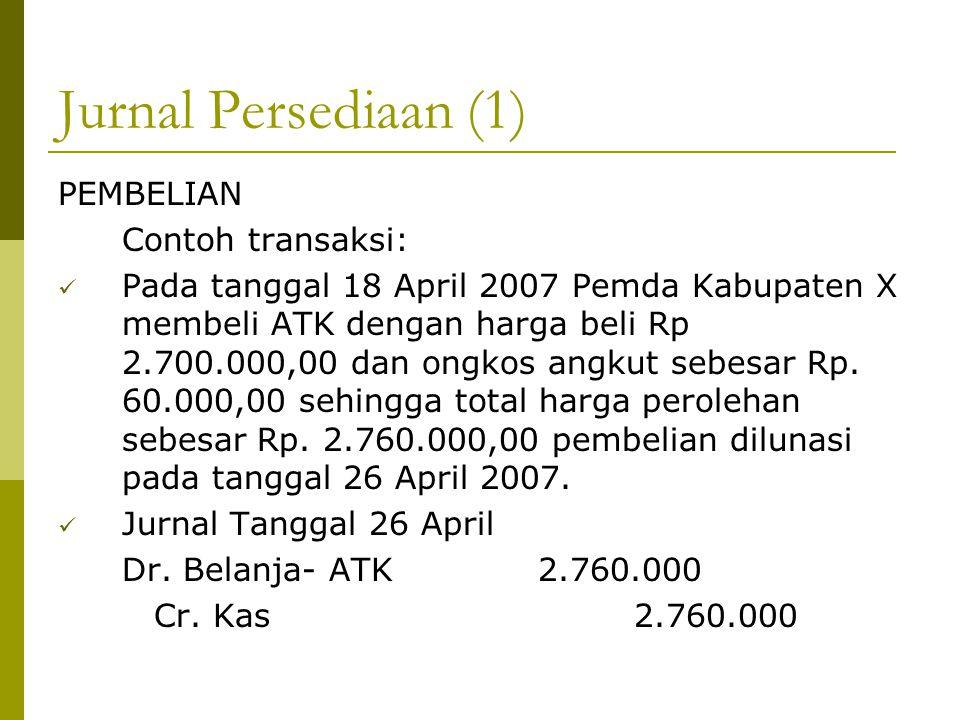 Jurnal Persediaan (1) PEMBELIAN Contoh transaksi: