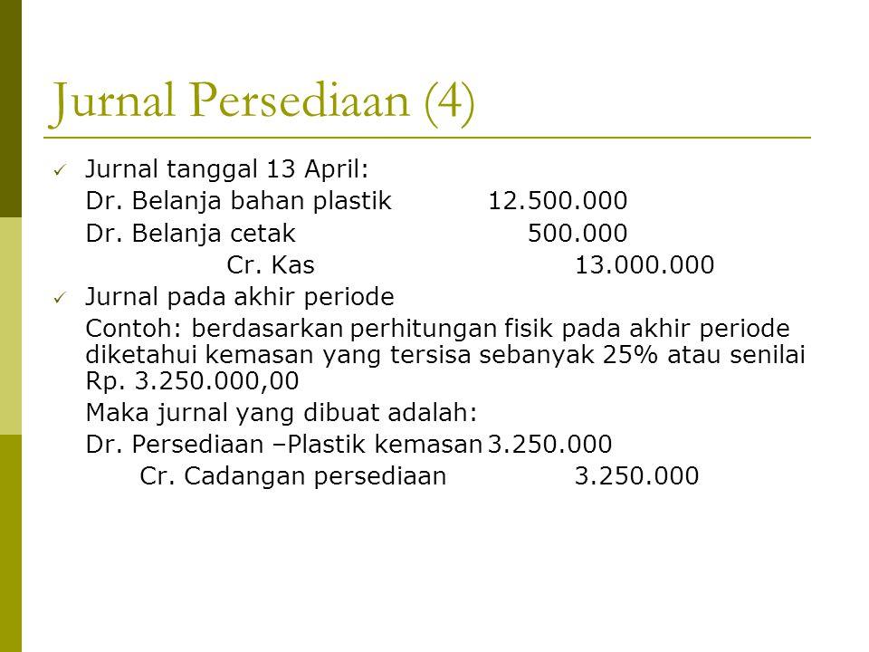 Jurnal Persediaan (4) Jurnal tanggal 13 April: