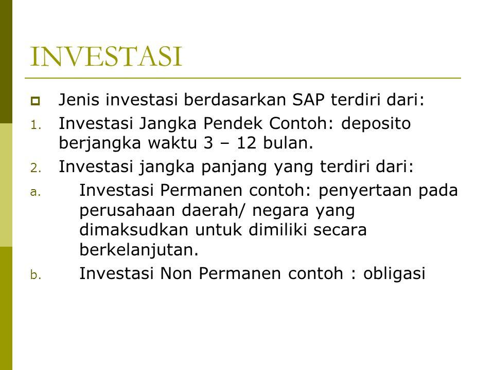 INVESTASI Jenis investasi berdasarkan SAP terdiri dari: