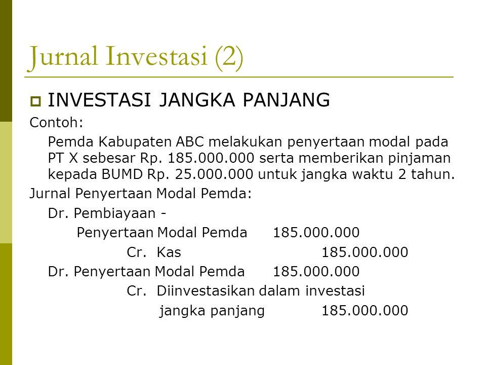 Jurnal Investasi (2) INVESTASI JANGKA PANJANG Contoh: