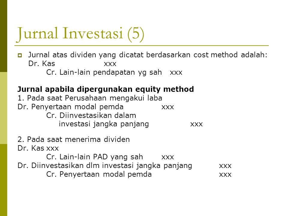Jurnal Investasi (5) Jurnal atas dividen yang dicatat berdasarkan cost method adalah: Dr. Kas xxx.
