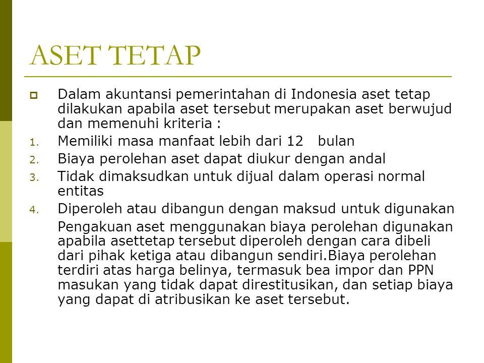 ASET TETAP Dalam akuntansi pemerintahan di Indonesia aset tetap dilakukan apabila aset tersebut merupakan aset berwujud dan memenuhi kriteria :