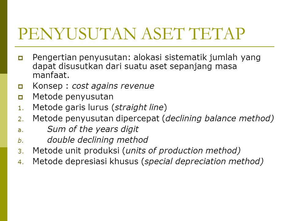 PENYUSUTAN ASET TETAP Pengertian penyusutan: alokasi sistematik jumlah yang dapat disusutkan dari suatu aset sepanjang masa manfaat.