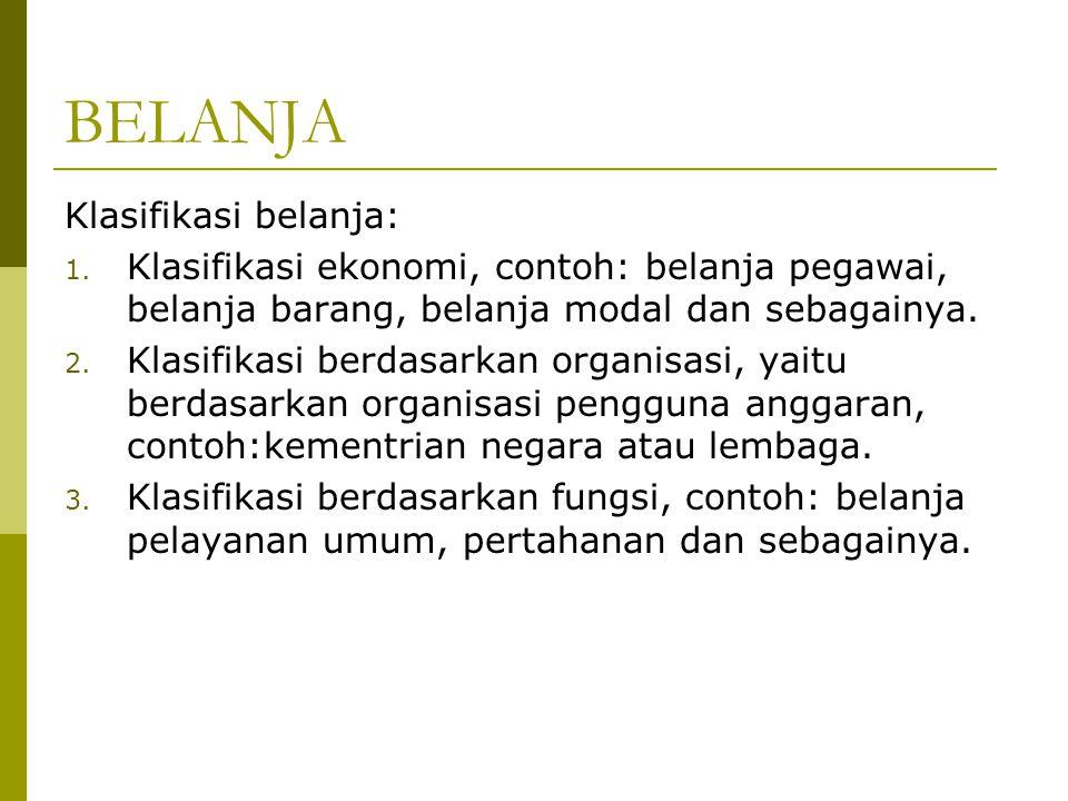 BELANJA Klasifikasi belanja: