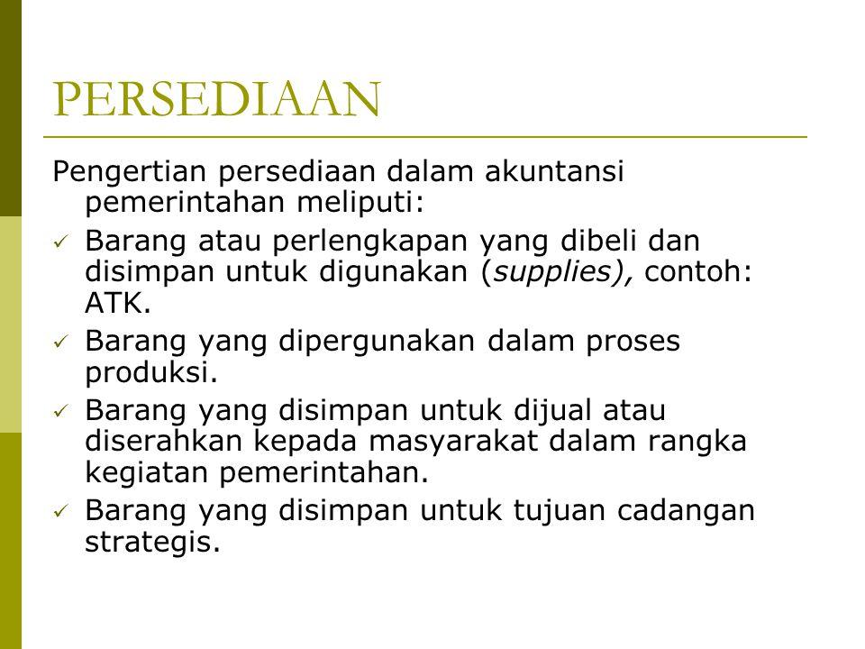 PERSEDIAAN Pengertian persediaan dalam akuntansi pemerintahan meliputi: