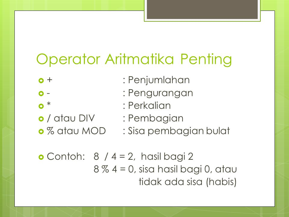 Operator Aritmatika Penting
