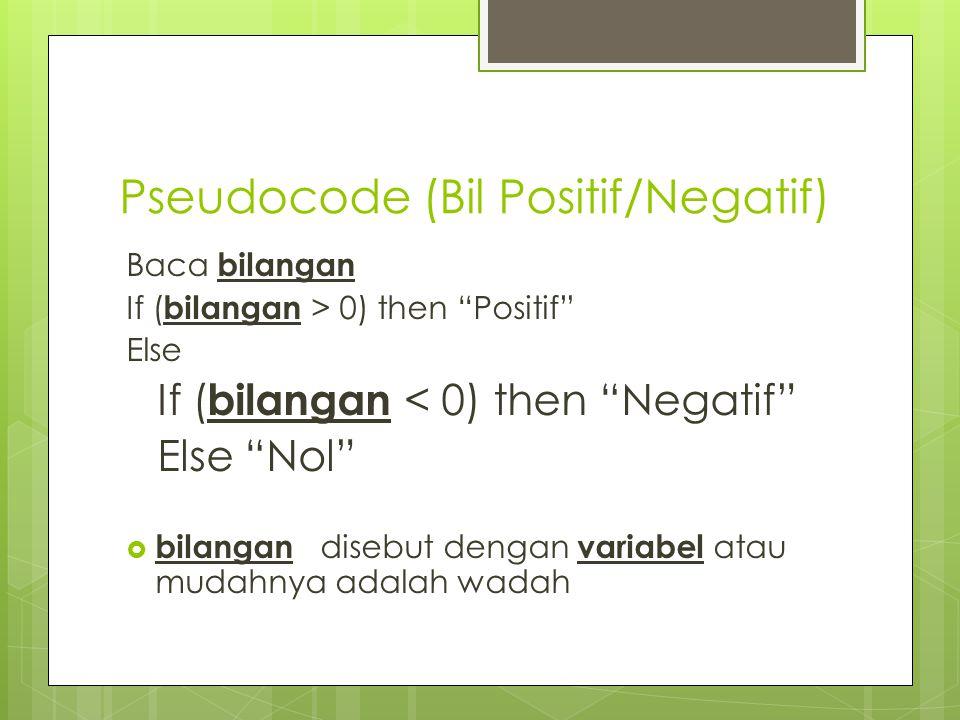 Pseudocode (Bil Positif/Negatif)