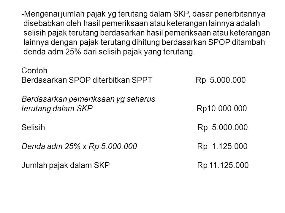 Mengenai jumlah pajak yg terutang dalam SKP, dasar penerbitannya