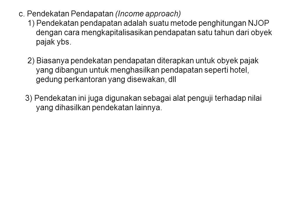 c. Pendekatan Pendapatan (Income approach)