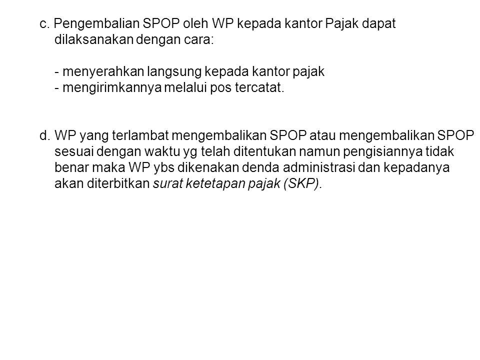 c. Pengembalian SPOP oleh WP kepada kantor Pajak dapat