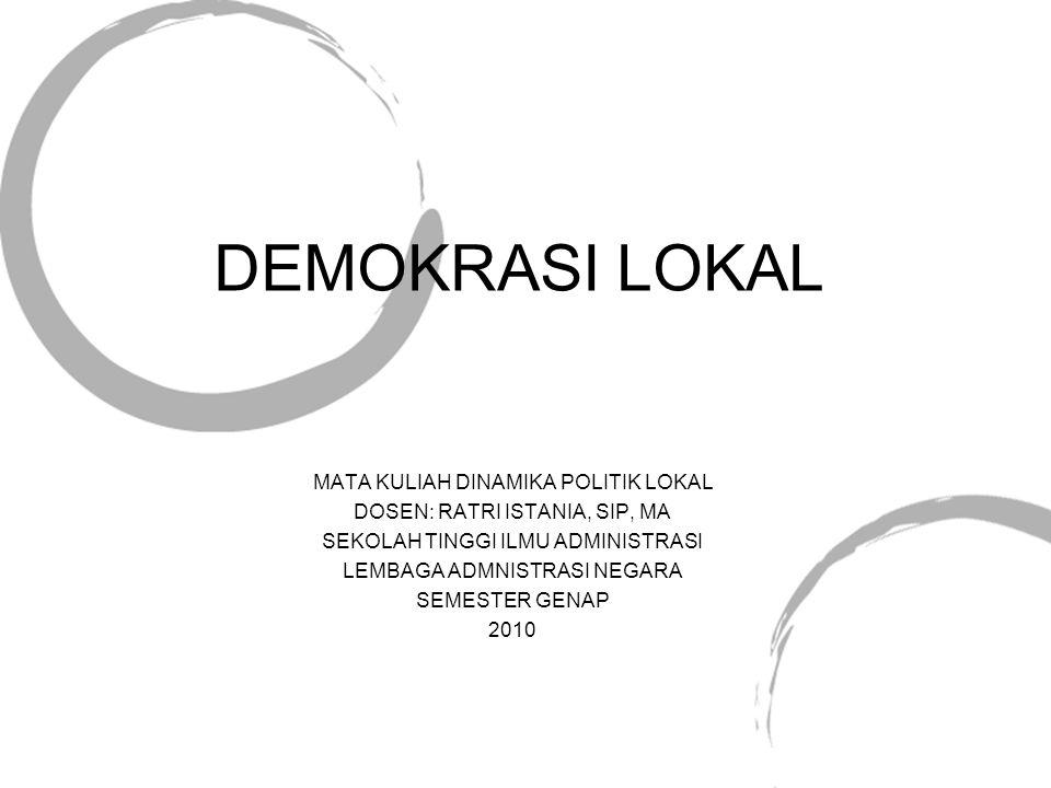 DEMOKRASI LOKAL MATA KULIAH DINAMIKA POLITIK LOKAL