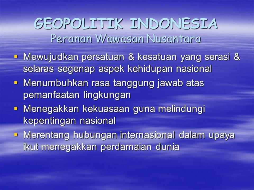 GEOPOLITIK INDONESIA Peranan Wawasan Nusantara