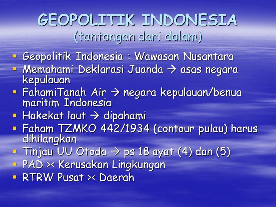 GEOPOLITIK INDONESIA (tantangan dari dalam)
